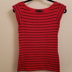 Navy and red Striped short sleeve shirt